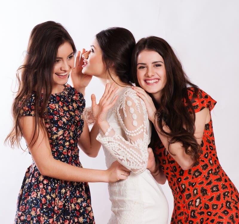 Drie glimlachende vrouwen die roddel fluisteren stock afbeelding