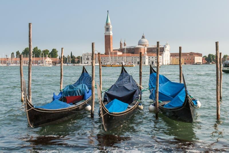 Drie gondels in Venetië stock foto's