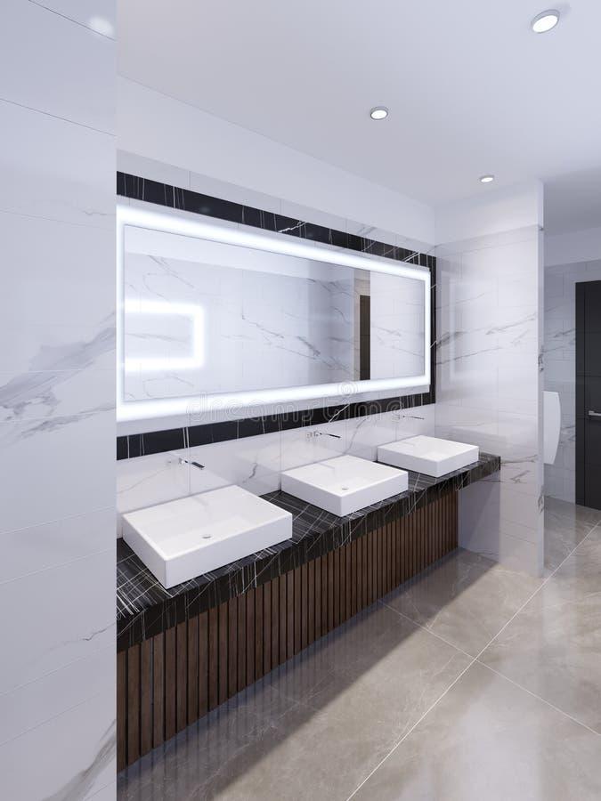 Drie gootstenen op marmeren zwarte countertop en een grote spiegel in het kader Openbaar toilet stock illustratie