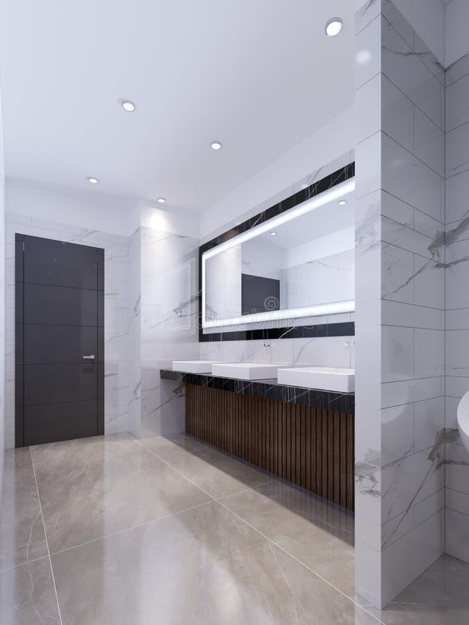 Drie gootstenen op marmeren zwarte countertop en een grote spiegel in het kader Openbaar toilet vector illustratie