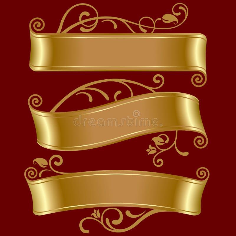 Drie gouden banners royalty-vrije illustratie