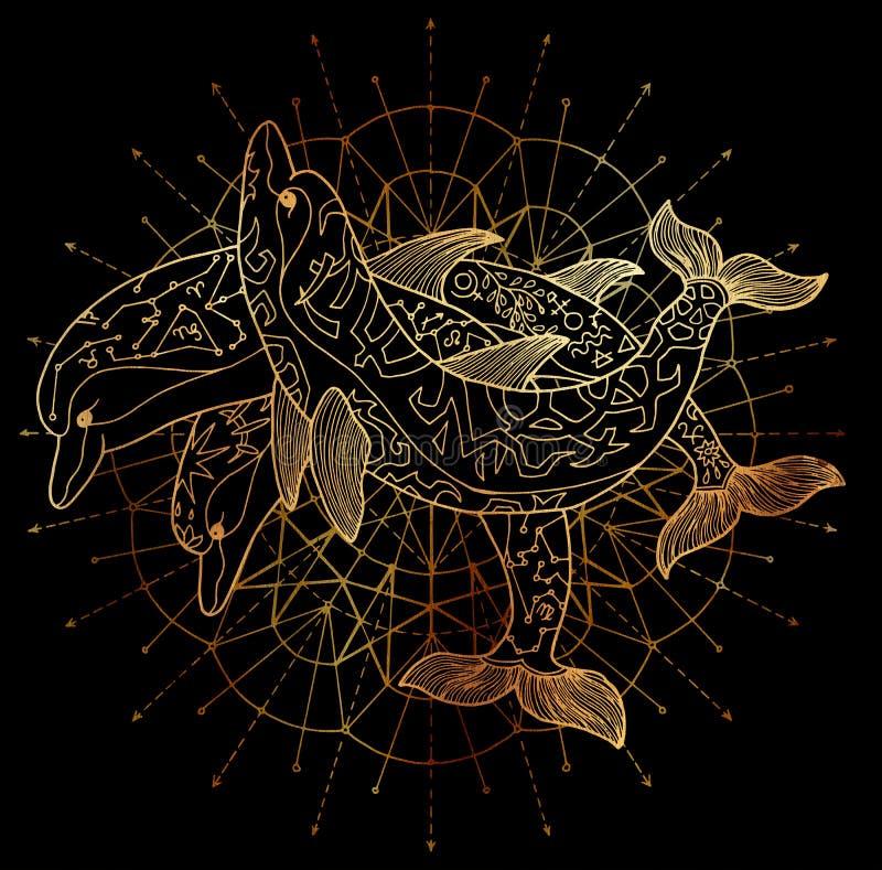Drie gouden dolfijnen en rond cirkelpatroon op zwarte achtergrond royalty-vrije illustratie
