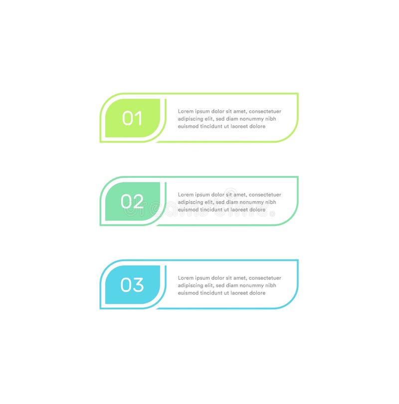 Drie grafische elementenontwerpsjabloon van het stappenwerkschema Infographic elemens voor zaken, vectorillustratie op wit vector illustratie