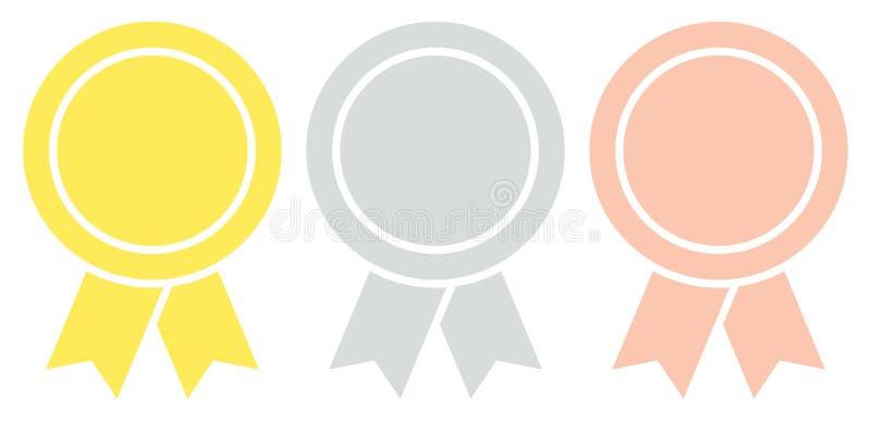 Drie Grafische Ronde Toekenningskentekens met Lint Gouden Zilveren Brons stock illustratie