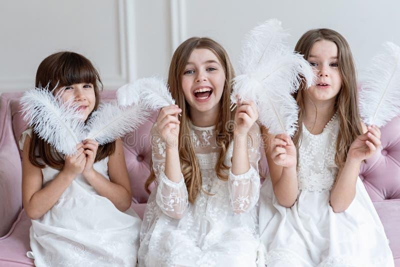 Drie grappig meisjesspel, verbergen zij achter veren royalty-vrije stock afbeelding