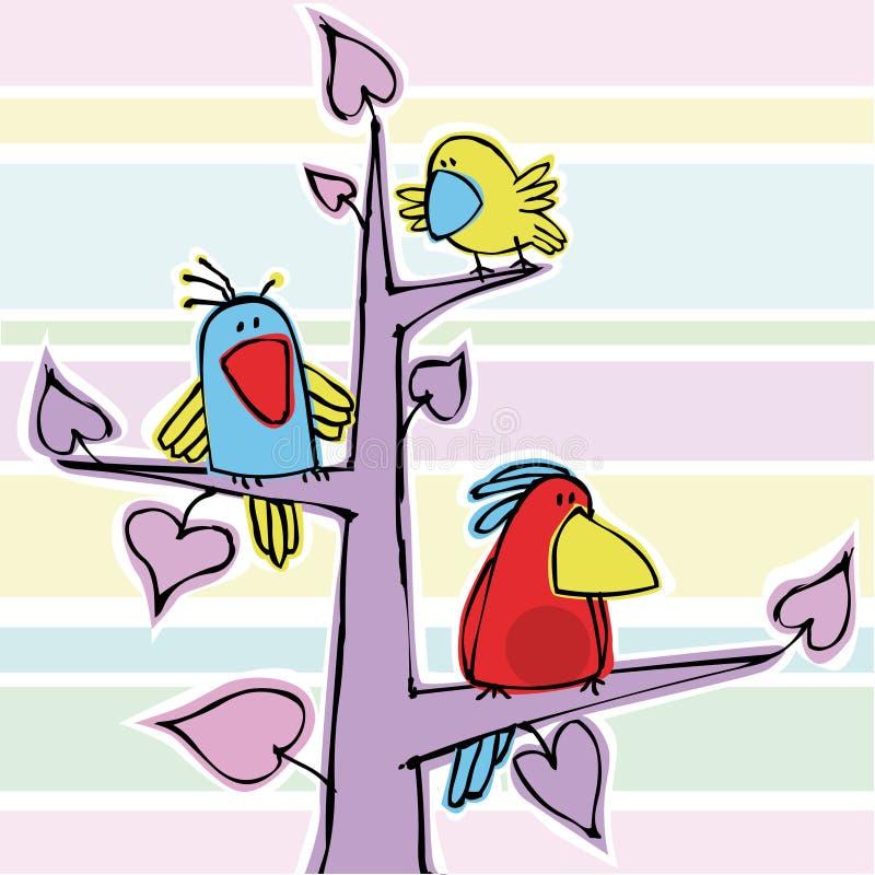 Drie grappige vogeltjes vector illustratie
