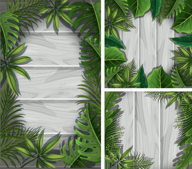 Drie grenzen met groene bladeren op grijze muur vector illustratie