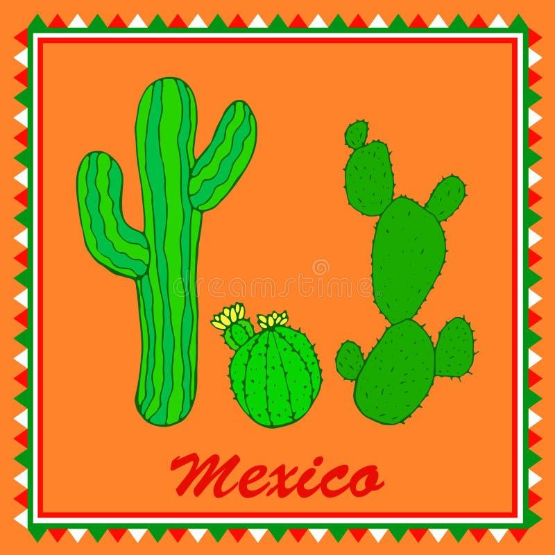 Drie groene cactussen op oranje achtergrond Geïsoleerd kleurrijk varkenskot stock illustratie