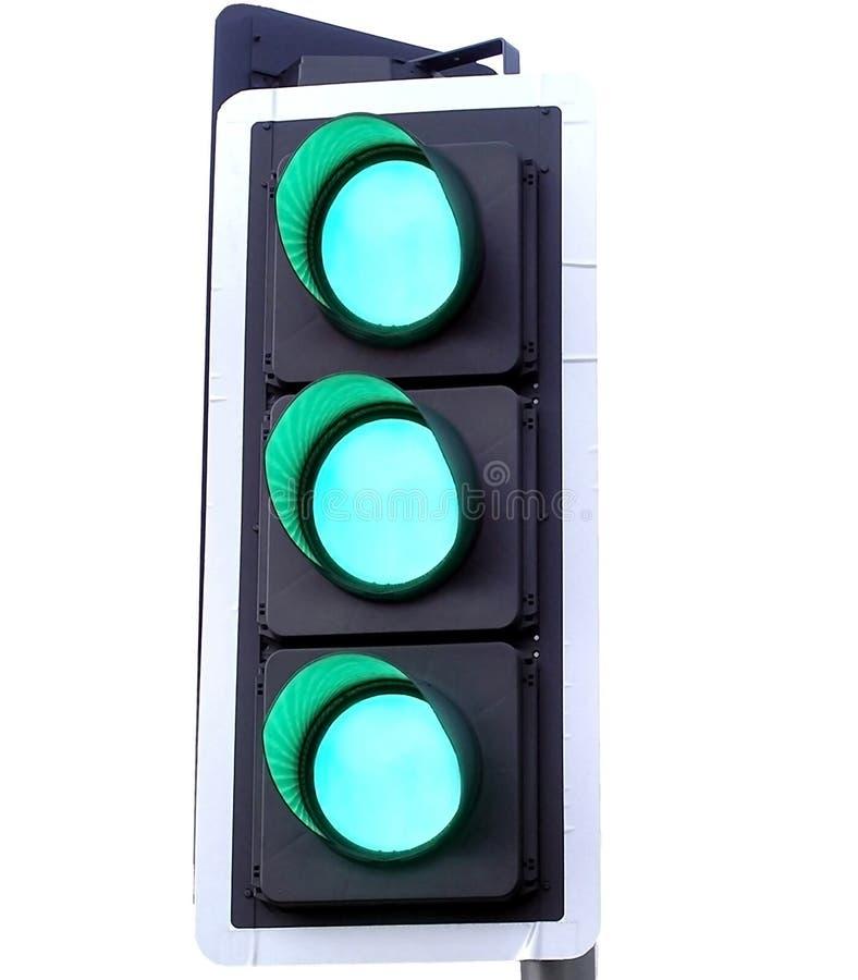 Drie Groene lichten stock foto's