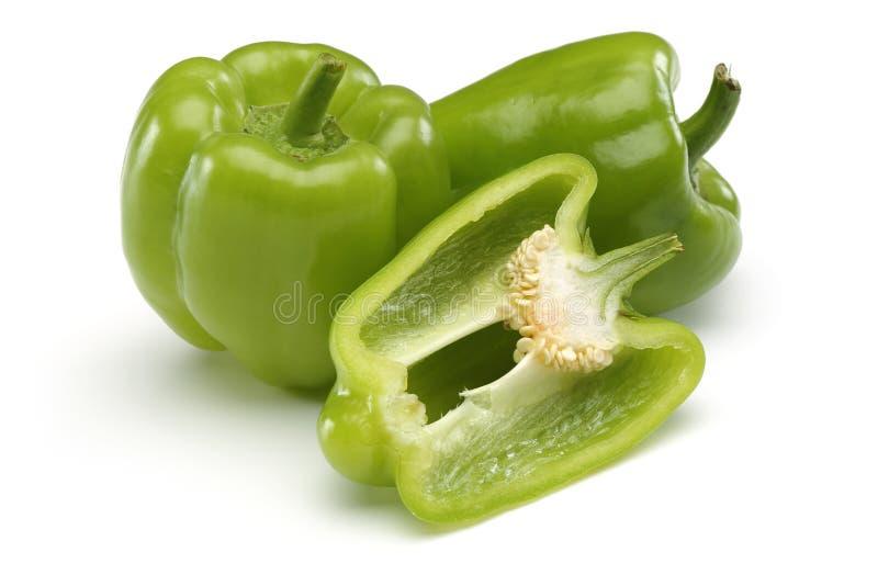 Drie Groene paprika's stock afbeeldingen