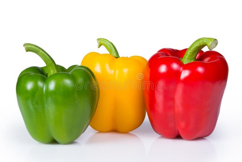 Drie Groene paprika's stock afbeelding