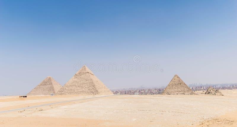 Drie Grote Piramides van Egypte stock afbeeldingen