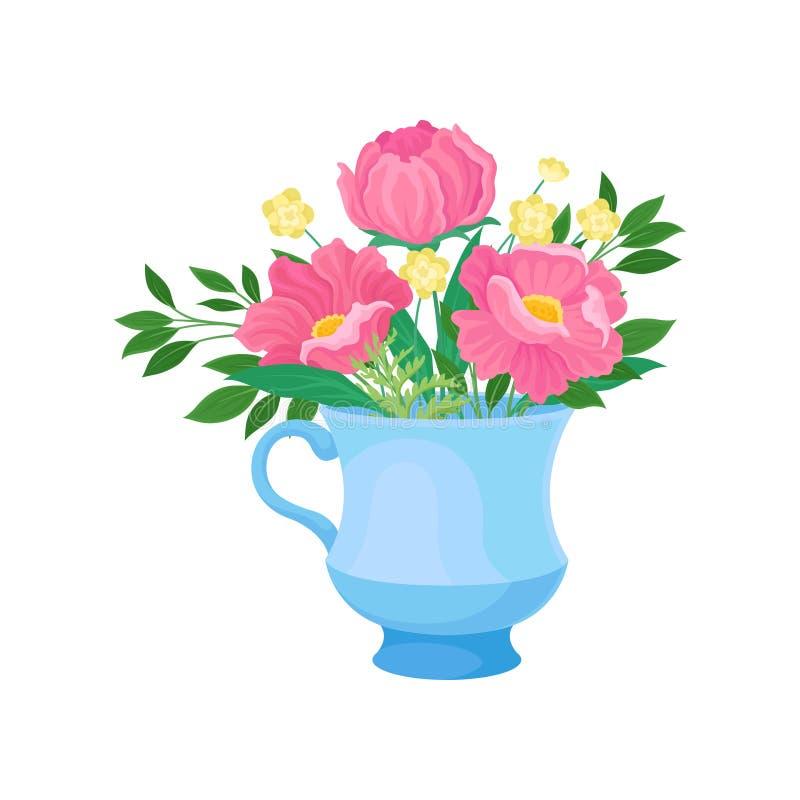 Drie grote roze bloemen in een mok Vector illustratie op witte achtergrond stock illustratie