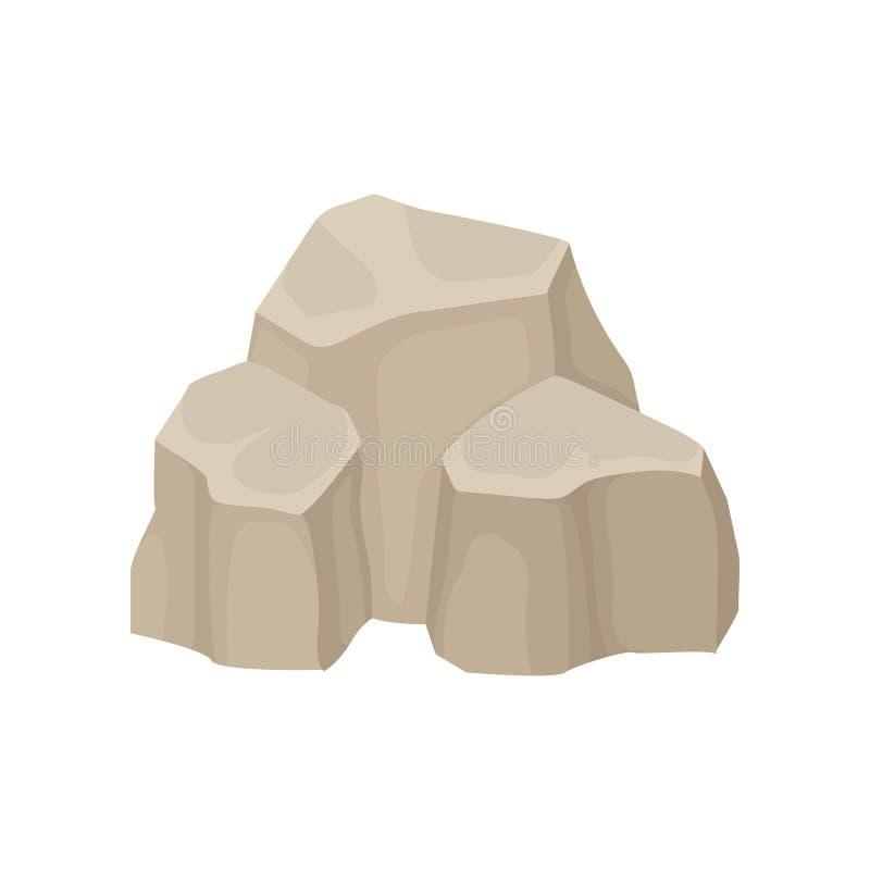 Drie grote stenen Vector illustratie op witte achtergrond stock illustratie