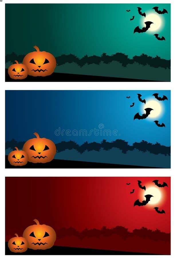 Drie Halloween-banners. vector illustratie