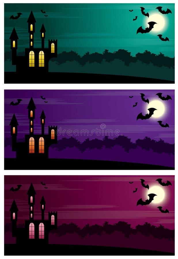 Drie Halloween-banners. stock illustratie