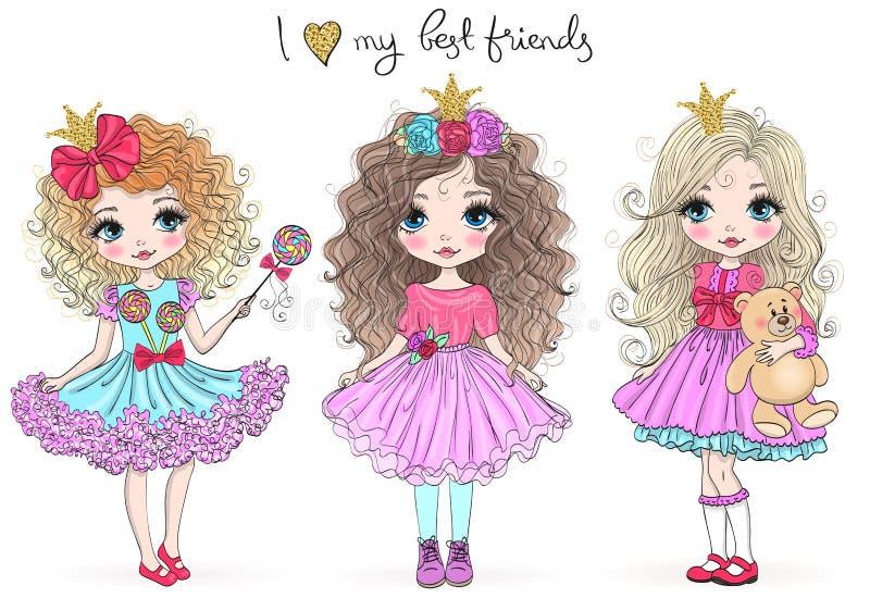 Drie hand getrokken mooie leuke weinig prinsesmeisjes Vector illustratie vector illustratie