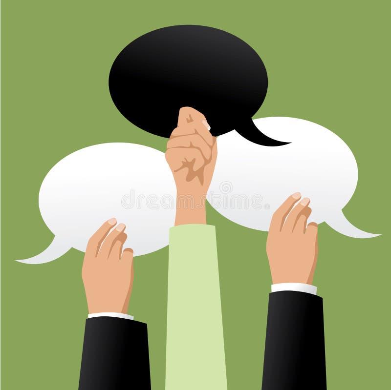 Drie handen die zwart-witte toespraakbellen houden stock illustratie