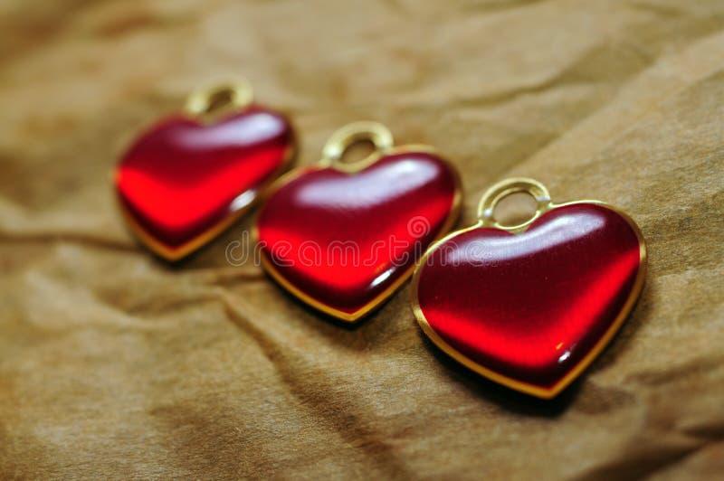 Drie hartenclose-up stock afbeeldingen