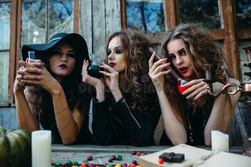 Drie heksen bij de lijst royalty-vrije stock afbeeldingen