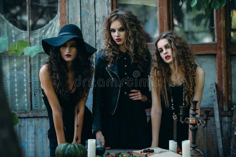 Drie heksen bij de lijst royalty-vrije stock foto's
