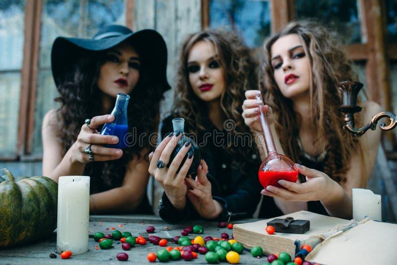 Drie heksen bij de lijst royalty-vrije stock afbeelding