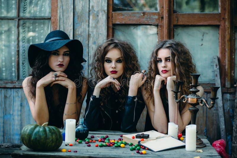 Drie heksen bij de lijst stock afbeelding