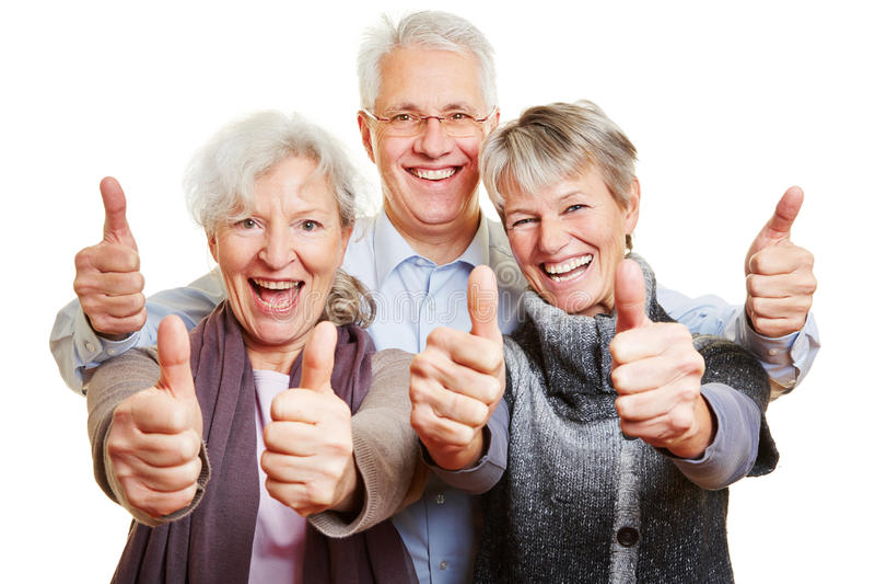 Drie het gelukkige hogere mensen houden royalty-vrije stock foto