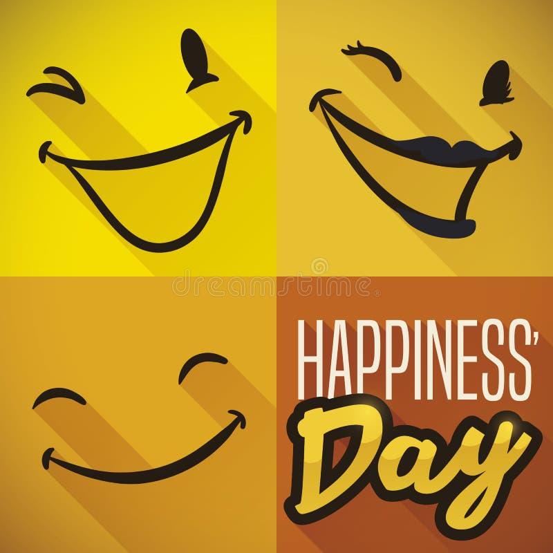 Drie het glimlachen Gezichten met de Dag van het Lange Schaduw het Vieren Geluk, Vectorillustratie stock illustratie