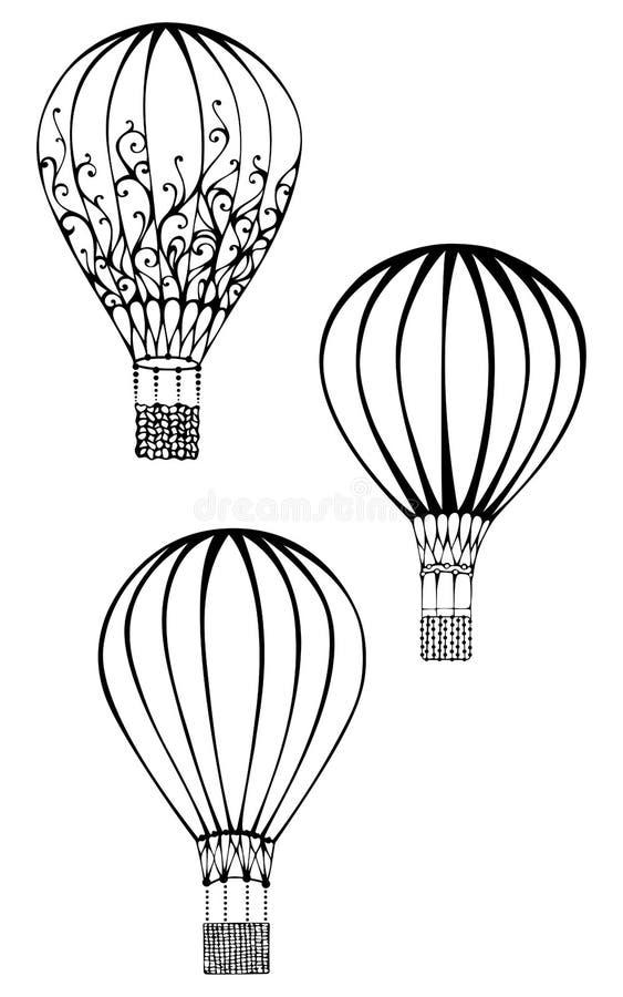 Drie hete die luchtballons op witte achtergrond worden geïsoleerd vector illustratie