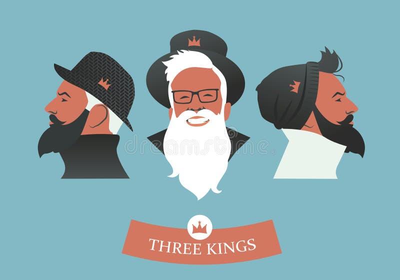 Drie Hipsters-Koningen stock illustratie