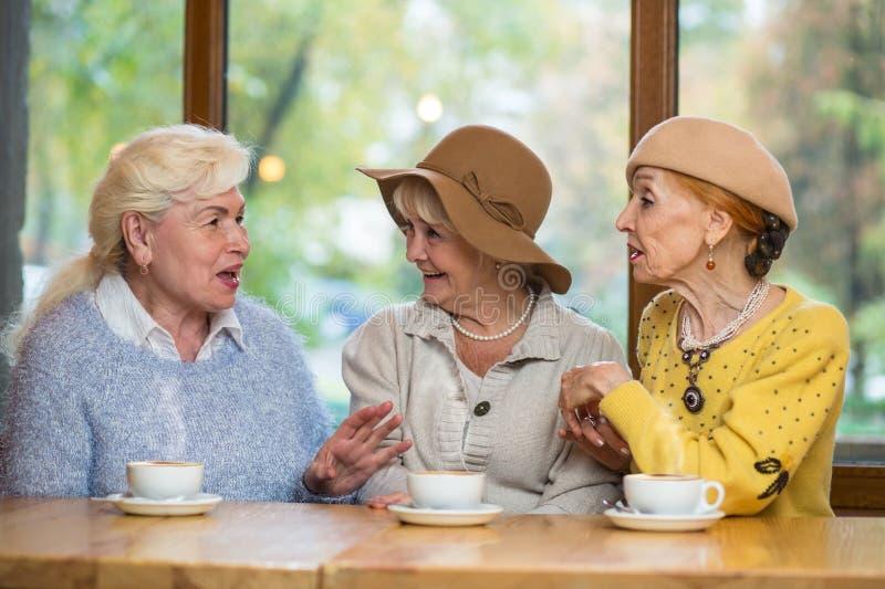 Drie hogere vrouwen bij lijst royalty-vrije stock foto