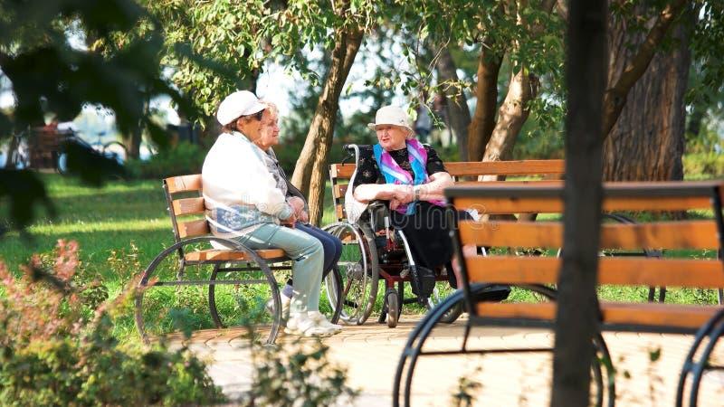 Drie hogere vrouwen die op een parkbank zitten royalty-vrije stock foto's