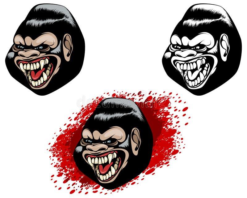 Drie hoofden van gorilla's vector illustratie