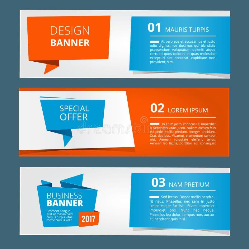 Drie horizontale banners met abstracte moderne achtergrond en plaats voor uw tekst Vector geplaatste illustraties royalty-vrije illustratie