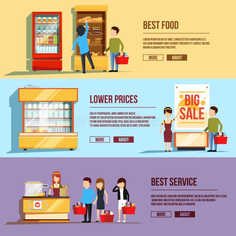 Drie horizontale banners met winkelende mensen Vlakke vectorillustratiereeks verschillende klanten Familie in supermarkt royalty-vrije illustratie