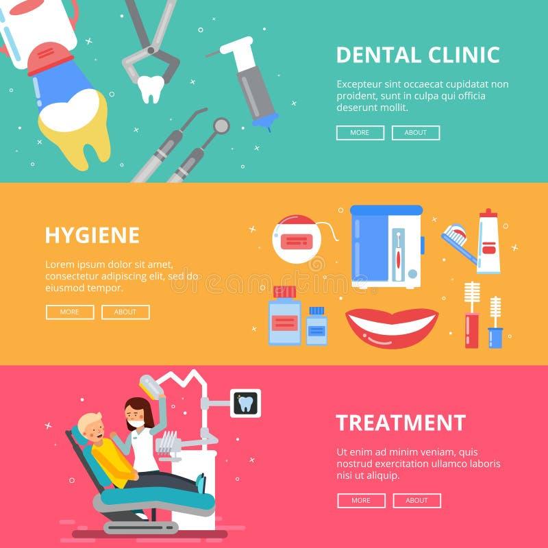 Drie horizontale banners van geneeskundeconcept Tandbeelden van het boren van tanden Medische toebehoren van tandarts royalty-vrije illustratie