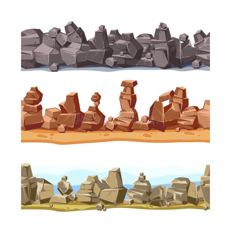 Drie horizontale naadloze rotsachtig, bergenlandschap voor spelgebruikersinterface De vectorreeks van de beeldverhaalillustratie vector illustratie