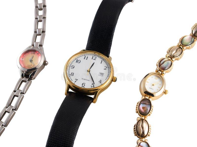 Drie horloges stock foto