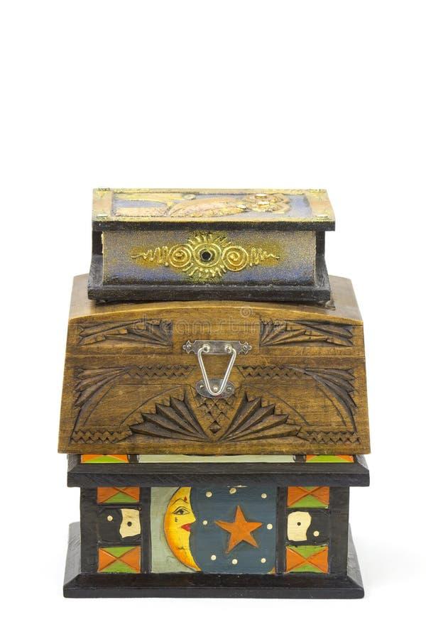 Drie houten juwelendozen stock afbeeldingen
