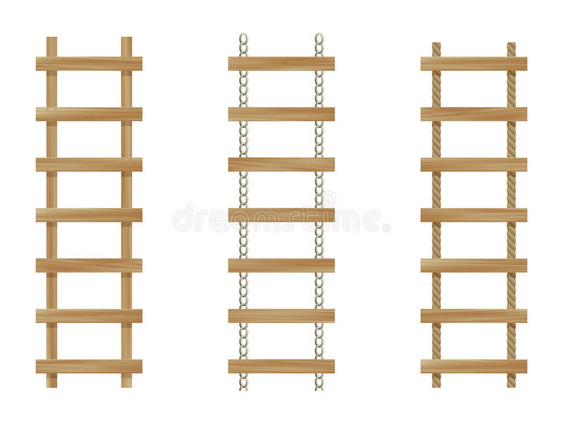 Drie houten ladders stock illustratie