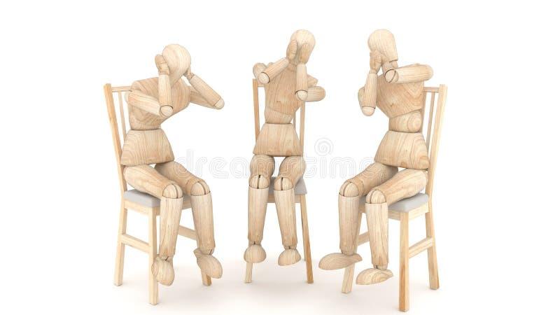 Drie houten marionetten het 3d teruggeven royalty-vrije illustratie