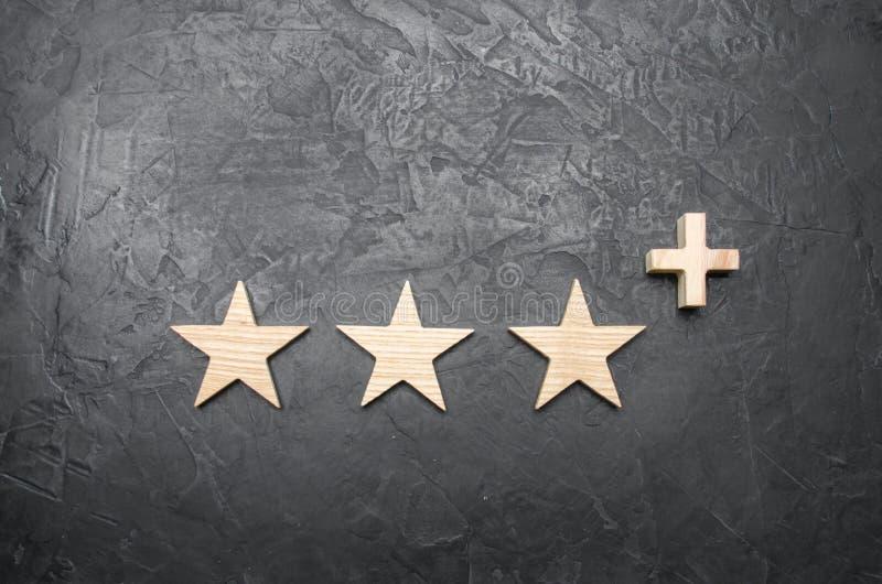 Drie houten sterren en a plus, op een concrete grijze achtergrond royalty-vrije stock foto's