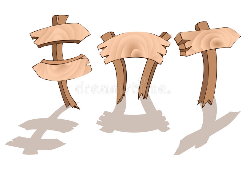 Drie houten tekens vector illustratie
