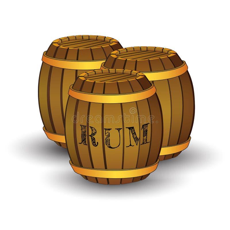 Drie houten vaten met etiket` RUM ` stock illustratie