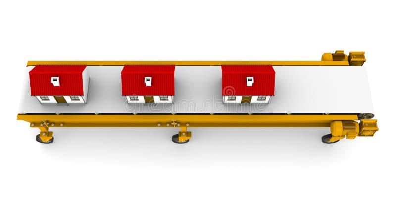 Drie huizen bewegen zich op transportband royalty-vrije illustratie