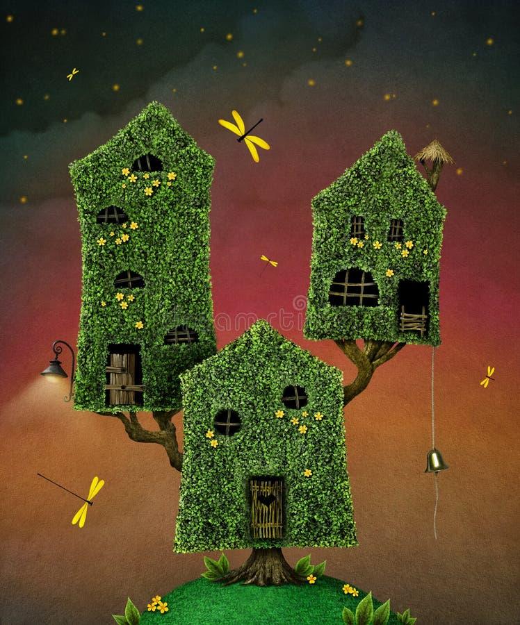 Drie huizen op boom stock illustratie