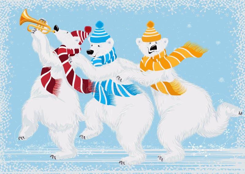 Drie ijsberen stock illustratie