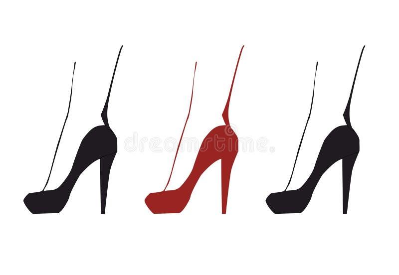 Drie isoleerden silhouet van rood en zwart elgant vrouwenbeen in schoenen met hoge hielen royalty-vrije illustratie