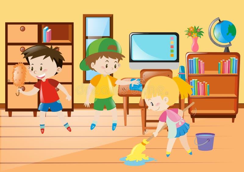 Drie jonge geitjes die klaslokaal schoonmaken vector illustratie